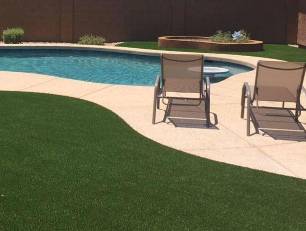 Grass by Pool